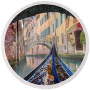 Journey Through Dreams - A Ride On The Canals Of Venice, Italy Round Beach Towel
