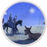 Journey To Bethlehem Round Beach Towel