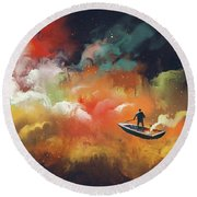 Round Beach Towel featuring the painting Journey To Outer Space by Tithi Luadthong