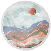 Journey To The Clouds Round Beach Towel