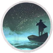 Round Beach Towel featuring the painting Journey To The New World by Tithi Luadthong