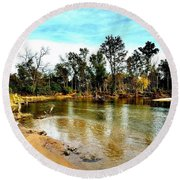 Journey To The Rivers Bend Round Beach Towel