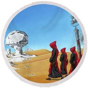 Round Beach Towel featuring the painting Journey To The White Desert by Paxton Mobley