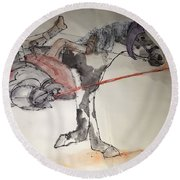Jousting And Falcony Album  Round Beach Towel by Debbi Saccomanno Chan
