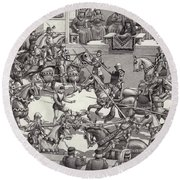 Jousting In Florence In The 15th Century Round Beach Towel