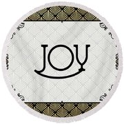 Joy - Art Deco Round Beach Towel