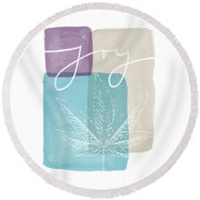 Joy Cannabis Leaf Watercolor- Art By Linda Woods Round Beach Towel