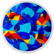 Joy Fish Abstract Round Beach Towel