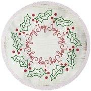 Joy Holly Wreath- Art By Linda Woods Round Beach Towel