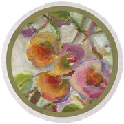 Round Beach Towel featuring the painting Joy by Mary Wolf