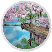 Joy Of Spring. Acrylic Painting For Sale Round Beach Towel