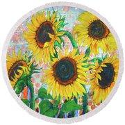 Joy Of Sunflowers Desiring Round Beach Towel