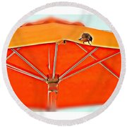Round Beach Towel featuring the digital art Joy On An Umbrella by Mindy Newman