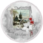 Round Beach Towel featuring the digital art Joy To The World by Mo T