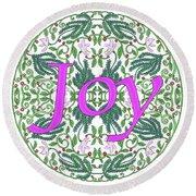 Joy With Purple Flowers Round Beach Towel by Lise Winne