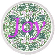 Joy With Purple Flowers Round Beach Towel