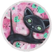 Joyce Cat Round Beach Towel by Abril Andrade Griffith