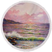 Round Beach Towel featuring the painting Joyces Seascape by Lou Ann Bagnall