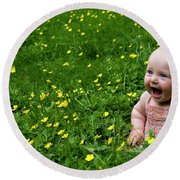 Joyful Baby In Flowers Round Beach Towel