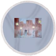 Round Beach Towel featuring the painting Joyful Bliss by Raymond Doward
