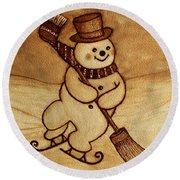 Round Beach Towel featuring the painting Joyful Snowman  Coffee Paintings by Georgeta  Blanaru
