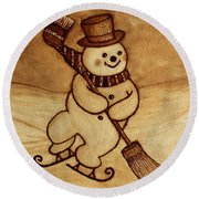 Joyful Snowman  Coffee Paintings Round Beach Towel