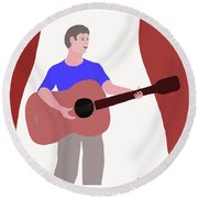 Joyful Young Musician Round Beach Towel by Fred Jinkins