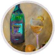 Joyous Champagne Orange Painting Round Beach Towel by Lisa Kaiser