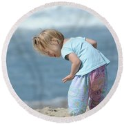 Round Beach Towel featuring the photograph Joys Of Childhood by Fraida Gutovich
