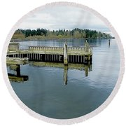Juanita Bay In Gray Round Beach Towel
