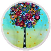 Round Beach Towel featuring the painting Jubilant Tree Of Life by Pristine Cartera Turkus