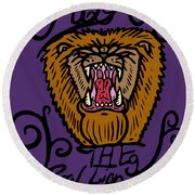 Judah The Real Lion King Round Beach Towel