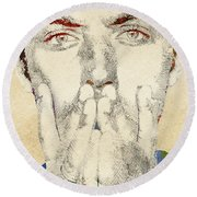 Jude Law Round Beach Towel by Mihaela Pater