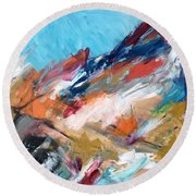 Judean Hill Abstract Round Beach Towel by Esther Newman-Cohen