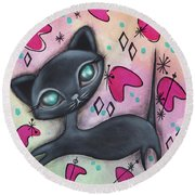 Judy Cat Round Beach Towel by Abril Andrade Griffith