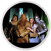 Judy Garland And Pals The Wizard Of Oz 1939-2016 Round Beach Towel by David Lee Guss