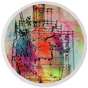 Jug Drawing Round Beach Towel