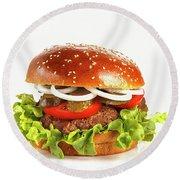 Juicy, Appetizing Hamburger On A White Background Round Beach Towel
