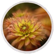 Round Beach Towel featuring the photograph Juiy 2016 Dahlia by Richard Cummings