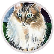 Juju - Cashmere Bengal Cat Painting Round Beach Towel