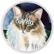 Juju - Cashmere Bengal Cat Painting Round Beach Towel