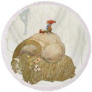 Julbock Round Beach Towel