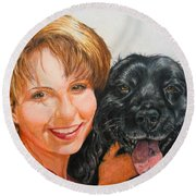 Round Beach Towel featuring the drawing Juli And Sam by Karen Ilari