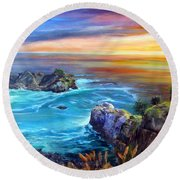 Julia Pfeiffer Beach Round Beach Towel