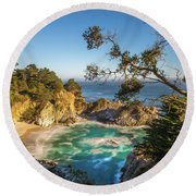 Julia Pfeiffer Burns State Park California Round Beach Towel