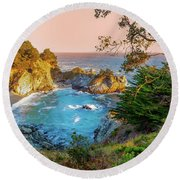 Julia Pfeiffer Burns State Park Mcway Falls Round Beach Towel
