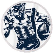 Julian Edelman New England Patriots Pixel Art 2 Round Beach Towel by Joe Hamilton