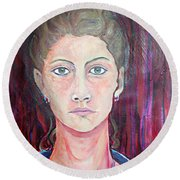 Julie Self Portrait Round Beach Towel