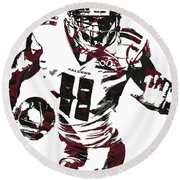 Julio Jones Atlanta Falcons Pixel Art 4 Round Beach Towel
