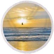 July 30 Sunrise Nh Round Beach Towel
